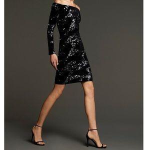 Eliza J off the shoulder black velvet sequin dress
